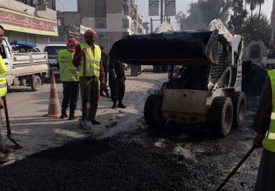 مشروع إعادة تاهيل وتعبيد شارع المنصورة في الرقة