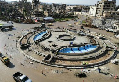 ترميم دوار النعيم ودوار الساعة مع مراسلنا عبد في الرقة